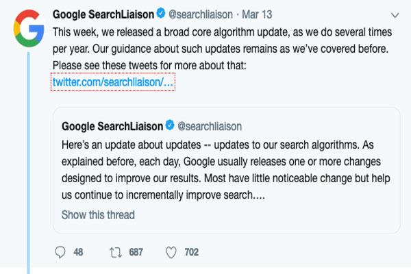 Google搜索引擎2019年3月核心算法更新 核心算法更新 Google 第1张